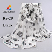 NINGBO LINGSHANG 2015 fashion multi colors summer sunscreen scarves printed female chiffon scarf