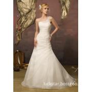 One Shoulder Beaded Organza Fashion Style Wedding Dresses (WMA009)