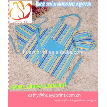Han edition canvas can be printed LOGO, the new children's apron, kids apron, children drawing sleeves, blue stripe scar
