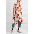 Harness Floral-print Silk Crepe De Chine Wrap Dress Manufacture Wholesale Fashion Women Apparel (TA4089D)