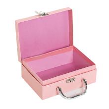 Caixa de armazenamento rígida do cartão da mala de viagem de papel bonita cor-de-rosa
