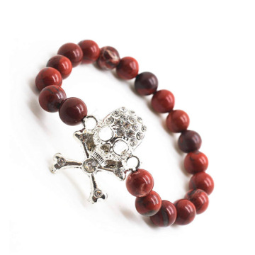 Red Jasper 8MM Round Beads Stretch Gemstone Bracelet with Diamante Skull Piece