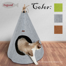 2018 Hot Selling Foldable Nature Beech Wood Stick Felt Dog Pet Cat Tent