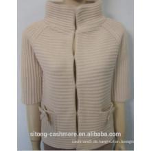 Frauen 3GG Cashmere / Wolle Rippe Strickjacke 2015