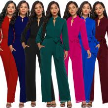 European and American best-selling slim solid color ladies sexy jumpsuit