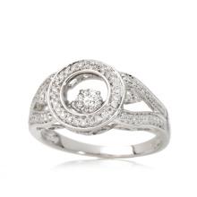 Bague en argent sterling à la mode 925 avec un design Micro diamant de danse