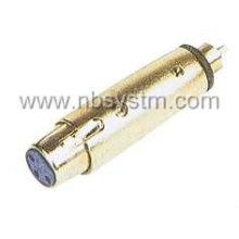 A: conector do microfone 3P para o plugue rca B: bujão do microfone 3P para o plugue rca