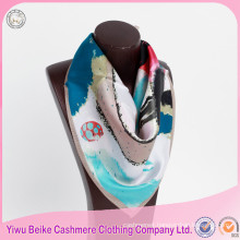 OEM quality women fashion large square twill printed silk neck scarves