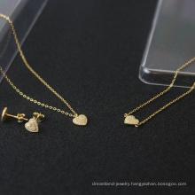 s925 sterling silver jewelry set gold-plated diamond heart-shaped necklace bracelet earrings