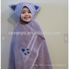 Фиолетовый кот с капюшоном полотенце, 100% хлопок,супер мягкий и Абсорбент