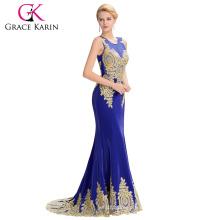 Grace Karin 2016 sin mangas de oro elegante Appliques Ball Gown vestido de noche azul real GK000026-4