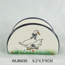 Sostenedor de servilleta de cerámica con pato