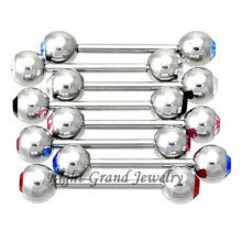 5 mm Presione Fit doble Crystal Ball Tongue Piercing Rings