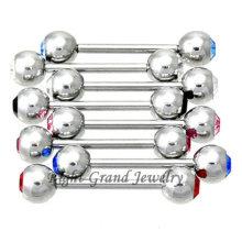 Пресс-5мм Fit двойной хрустальный шар Пирсинг языка кольца