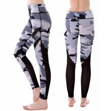 Beliebte auf Lager Camouflage Print Frauen Finnness Sport Hosen Mesh Yoga Leggings