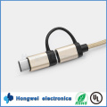 USB 3.1 Typ-C zu Micro USB 2 in 1 Nylon geflochtenes Mikro-Lade-USB-Kabel