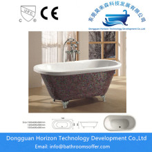 New Fashion Design for Clawfoot Bathtub with Four Legs Sequins decoration freestanding bathtub supply to France Exporter