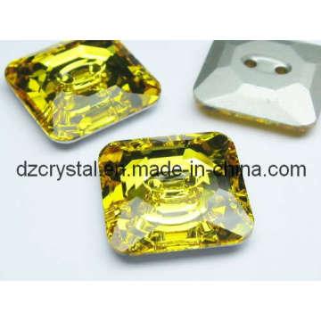 Botón cuadrado de cristal para la decoración de prendas de vestir (DZ-botón-002)
