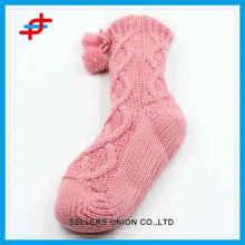 Chaussettes en mousse chaude hiver de 2016 de rayures pour jeunes filles, qualité et chaud