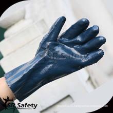 SRSAFETY Черные нитрилы более длинные химические перчатки защита / черные безопасные нитриловые рабочие перчатки