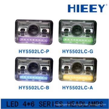Lampe à LED rectangulaire de 4 * 6 pouces Éclairage LED homologué par le DOT avec lampe de position Grand phare à camion avec fonction de faisceau faible