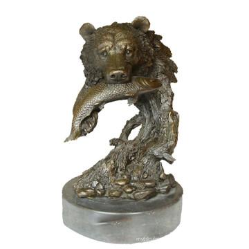 Animal Bronze Sculpture Ours Tête Décor En Laiton Statue Tpy-649