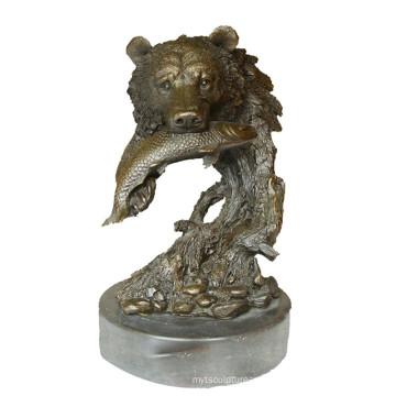 Animal Bronze Sculpture Bear Head Decor Brass Statue Tpy-649