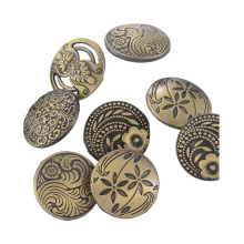 Professional for Button Metal Fashionable Buttons With Bronze Flower Decorative Pattern export to Japan Exporter