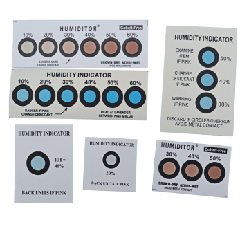 Brown to blue humidity indicator card 6 dots