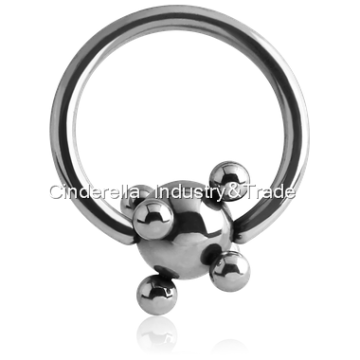 Surgical Steel Ball Closure Ring with Multiball