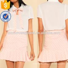 Tie Neck Top & Ruffle Polka Dot Skirt Manufacture Wholesale Fashion Women Apparel (TA4054SS)