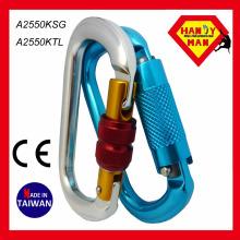 O em forma útil Twist Lock Alumínio Carabinetes de escalada feitos em Taiwan