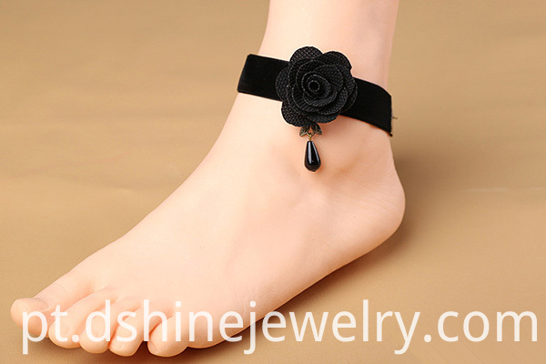 Sexy Black Flower Lace Anklet