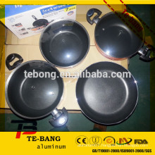high quality 4pcs Cooking non-stick aluminum set pot With Glass Lid