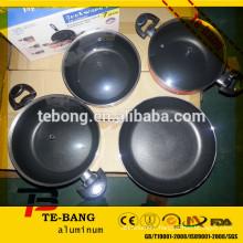 high quality 4pcs Cooking non-stick aluminum set pot With Glass Lid