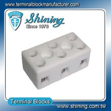 Conector de latão de porcelana parafuso bloco de terminais cerâmico elétrico