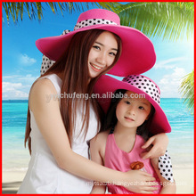 New Women Derby Cap Wide Large Brim Floppy Fold Summer Beach Parent-Child Beach Sun Hat