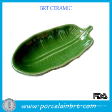 Grüne Blattform Keramikschale Teller