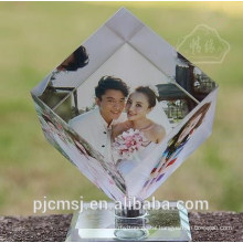 Valentine's day gift photo print crystal cube rotaing music box