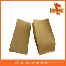 Flexo printing laminated side gusset kraft paper bag for bread packaging