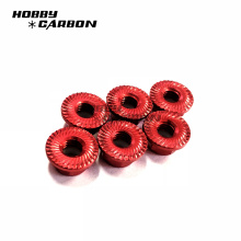 Customized M6 serrated flange lock nut red nut for rc toy