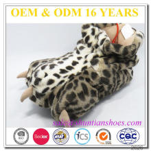 Hot vender pelúcia leopard paw claw chinelo para homens mulheres