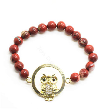 Red Jasper 8MM Round Beads Stretch Gemstone Bracelet with Diamante owl alloy Piece