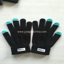 Custom Screen Touch Gloves W/ Logo - Black