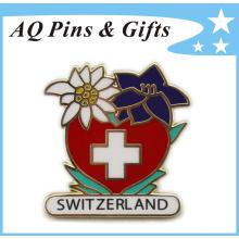 Red Cross Metal Soft Cloisonne Gold Badge (badge-147)