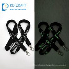 Free sample personalized single custom polyester printed promotional adjustable reflective luminous glow lanyard with logo