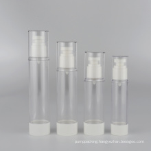15ml 30ml 50ml low MOQ clear plastic airless serum bottle with white press pump in stock transparent lotion bottle