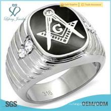 Мужское ожерелье из нержавеющей стали и кубического циркония Масонское кольцо