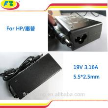 Cargador de batería externo para el ordenador portátil del hp 19v3.16a 60W 5.5 * 2.5mm hecho en China