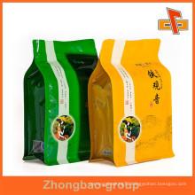 Zip top custom printing block bottom bag for tea packaging